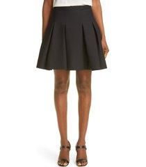 women's valentino pleated virgin wool & silk skirt, size 14 us - black