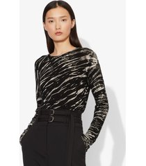 proenza schouler tiger print long sleeve t-shirt black/white diagonal xs