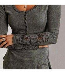 zanzea mujer coreana verano botón túnica bordado cuello redondo manga larga encaje empalme camiseta con fondo blusa tops gris oscuro -gris