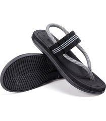 sandalias de verano antideslizantes con clip para hombres-negro