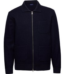 d2. boiled knitted jacket dun jack blauw gant