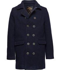 remastered bridge coat wollen jas lange jas blauw superdry