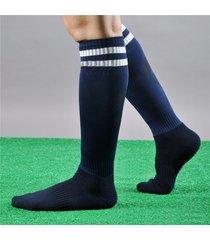 uomo donna sport calcio a strisce lunghe calze protezione alta ginocchio calze