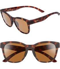 women's smith caper 53mm chromapop(tm) polarized square sunglasses - matte tortoise