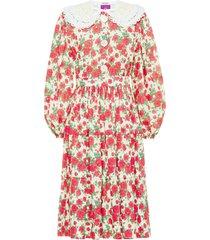 miu miu floral print poplin midi dress - red