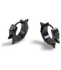 mens black spike hoop earrings*