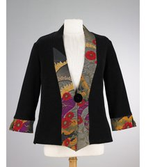 smithsonian asian fan kimono jacket black (small or medium)