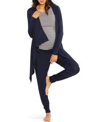women's angel maternity maternity/nursing cardigan, tank & pants set, size xx-large - blue