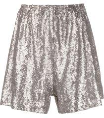 alchemy sequinned wide-leg shorts - grey