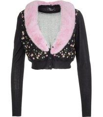 blumarine black floral cropped cardigan with pink mink collar