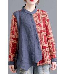tribal modello camicetta vintage a maniche lunghe con bottoni e colletto in piedi
