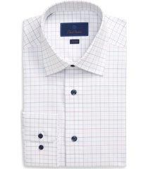 men's big & tall david donahue trim fit windowpane dress shirt, size 18 - 36/37 - white