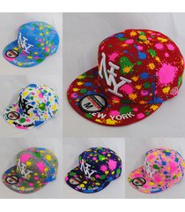 ny new york paint splash flat peak fitted hat cap black white blue purple +