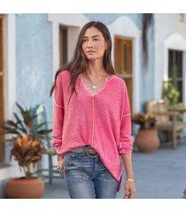 sundance catalog women's big sur sweater in hot pink xs