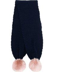 hucklebones london chunky pompom scarf - blue