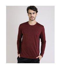 camiseta masculina ace manga longa gola careca vinho