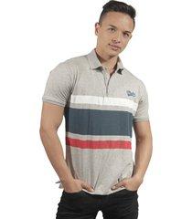 camiseta polo hombre manga corta slim fit gris marfil fam