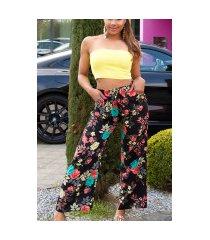trendy casual zomer broek met bloemen-print zwart