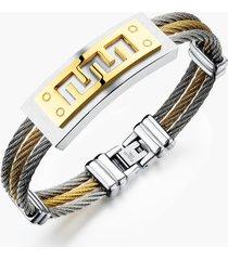 braccialetti classici per bracciali in acciaio inossidabile color argento per uomo