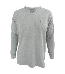 camiseta masculina black west classica manga longa gola v mescla cinza