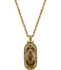 14k gold-dipped red enamel swing open pendant enclosed crucifix necklace