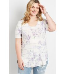 maurices plus size womens 24/7 lilac floral stripe flawless tunic tee purple