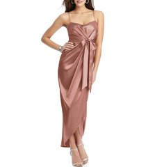 women's after six bow front stretch satin gown