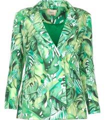 blazer met bladerenprint wooze  groen