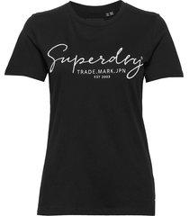 alice script emb entry tee t-shirts & tops short-sleeved svart superdry