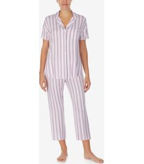cuddl duds notched top & cropped pajama pants set