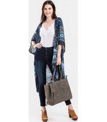 maya scarf print kimono - blue