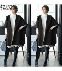 zanzea otoño invierno de las mujeres chaqueta de lana mujer manga del batwing floja ocasional prendas de vestir exteriores larga capa con capucha cardigan gran tamaño negro -negro