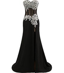 blevla sweetheart rhinestones crystal beads chiffon prom dress evening gown b...