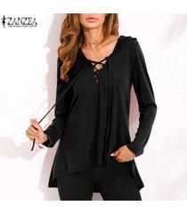 zanzea nuevo de las mujeres con cordones v profundo con capucha tops ocasional de la camisa blusa suelta más el tamaño -negro