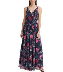 eliza j floral-print gown
