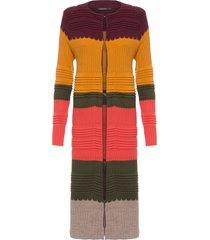 cardigan feminino tricot longo saint germain - marrom