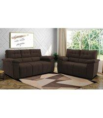 conjunto de sofã¡ cama inbox clã¡ssico 2 e 3 lugares 1,50x2,00m tecido suede cafã© - marrom - dafiti