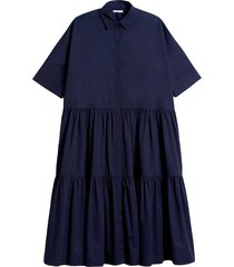 drop waist tiered dress in navy