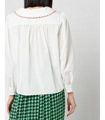 rixo women's lila embroidered collar cotton blouse - ivory cotton - l