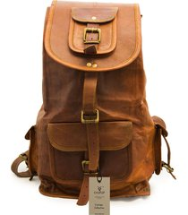 new genuine leather  brown vintage back pack rucksack travel bag men's women's