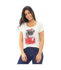 blusa t-shirt feminina viscolycra estampada manga curta