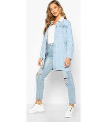 borg longline jean jacket, blue