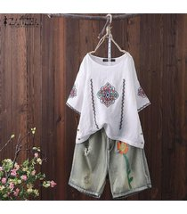 zanzea verano de las mujeres de la media manga ocasional de alto bajo botón bordado tops camisas de la blusa -blanco