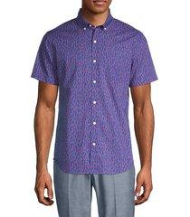 slim-fit riviera palm tree print sport shirt