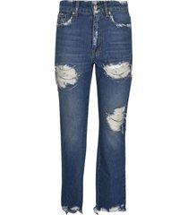 chiara ferragni regular destroyed crystal embellished jeans