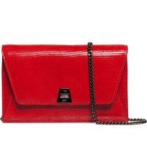 women's akris anouk lizard embossed wallet on a chain - red