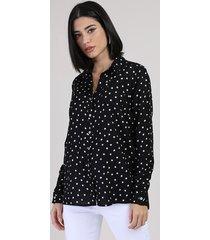 camisa feminina estampada de poá com bolso manga longa preto