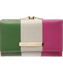 billetera mediana con tapa verde multicolor sarah
