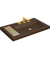 cuba de sobrepor retangular marrom fosco com mesa 80x47,5cm e grelha gold l1044.gl.22 - deca - deca