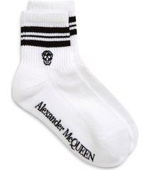 women's alexander mcqueen stripe skull socks, size large - white